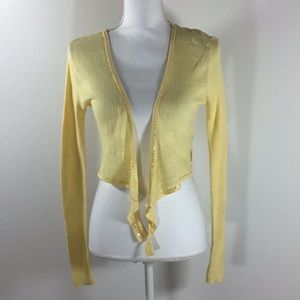 Calvin Klein Canary Yellow Beaded Cardigan Size M